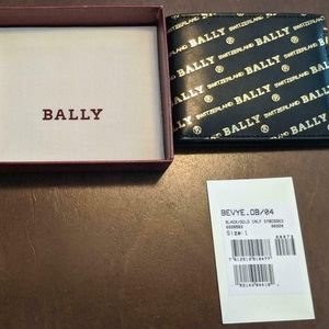 "Bally ""Bevye"" Logo Print Leather Bifold Wallet"